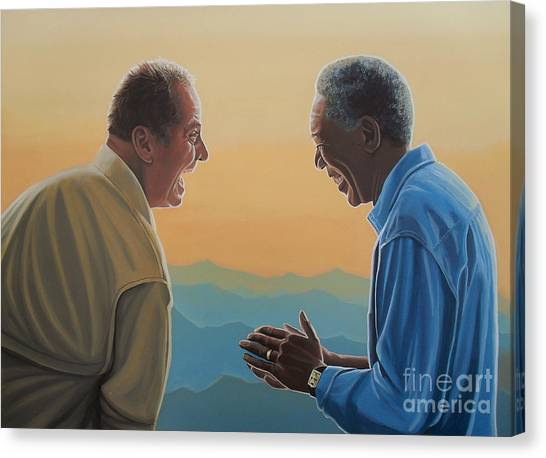 Jack Nicholson Canvas Print - Jack Nicholson And Morgan Freeman by Paul Meijering