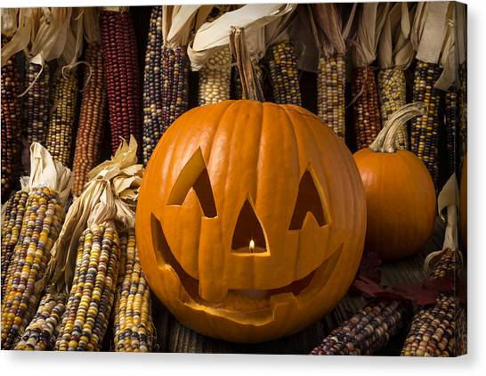 Indian Corn Canvas Print - Jack-o-lantern And Indian Corn  by Garry Gay