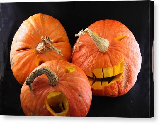 Orange Jack-o-lanterns Anticipating Halloween Canvas Print by Michael Riley