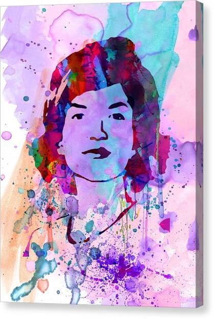 Rights Canvas Print - Jackie Kennedy Watercolor by Naxart Studio