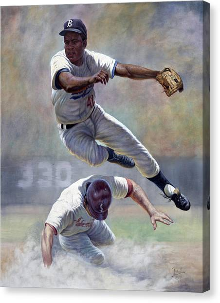 Baseball Players Canvas Print - Jackie Robinson by Gregory Perillo