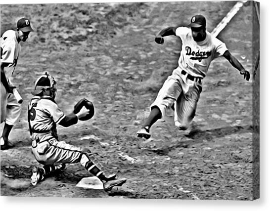 Jackie Robinson Stealing Home Canvas Print