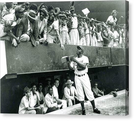 Jackie Robinson Signs Autographs Vintage Baseball Canvas Print