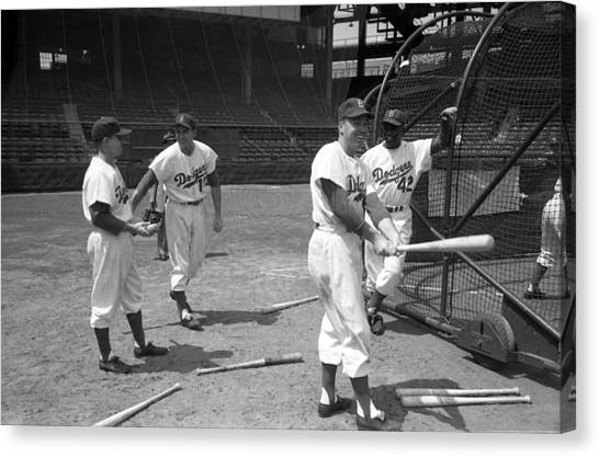 All Star Canvas Print - Jackie Robinson And Duke Snider  by Retro Images Archive