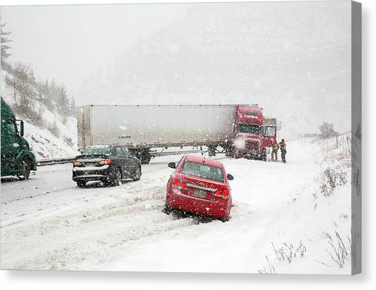 Interstates Canvas Print - Jacknifed Truck Blocking Highway by Jim West