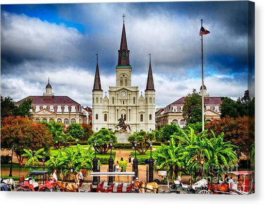 Church Canvas Print - Jackson Square New Orleans by Jarrod Erbe