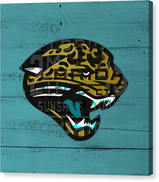 Jacksonville Jaguars Canvas Print - Jacksonville Jaguars Football Team Retro Logo Recycled Florida License Plate Art by Design Turnpike
