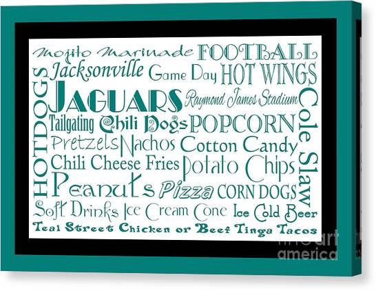 Jacksonville Jaguars Canvas Print - Jacksonville Jaguars Game Day Food 2 by Andee Design