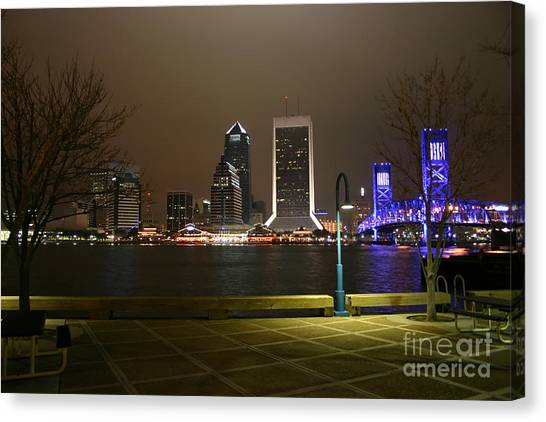 Jacksonville Riverwalk Night Canvas Print