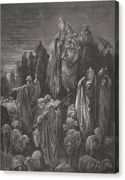 Holy Bible Canvas Print - Jacob Goeth Into Egypt by Gustave Dore