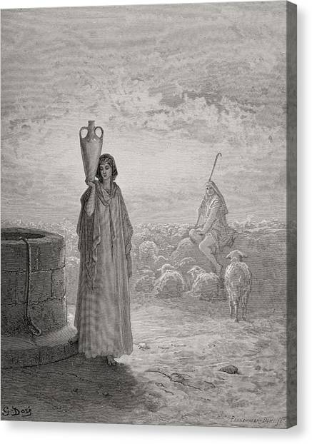 Holy Bible Canvas Print - Jacob Keeping Laban's Flock by Gustave Dore