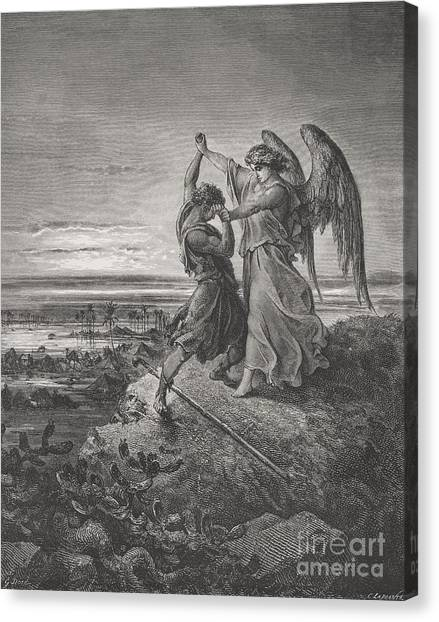 Holy Bible Canvas Print - Jacob Wrestling With The Angel by Gustave Dore