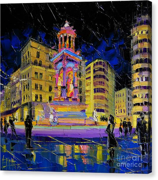 Facade Canvas Print - Jacobins Fountain During The Festival Of Lights In Lyon France  by Mona Edulesco
