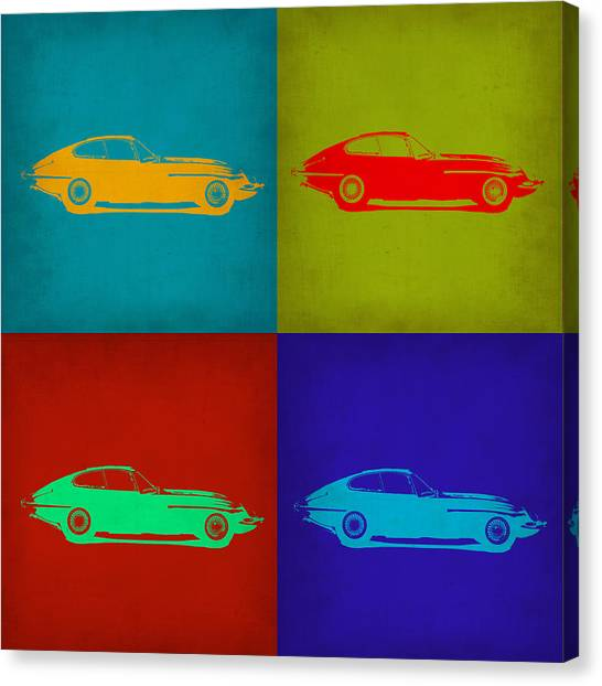 Type Canvas Print - Jaguar E Type Pop Art 1 by Naxart Studio