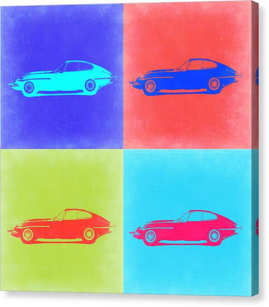 Type Canvas Print - Jaguar E Type Pop Art 2 by Naxart Studio