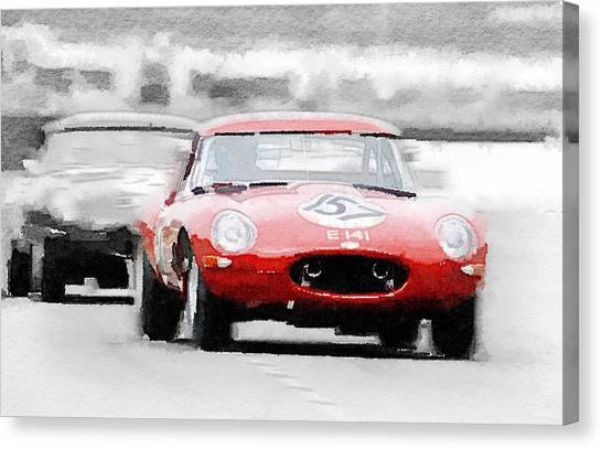 Type Canvas Print - Jaguar E-type Racing Watercolor by Naxart Studio
