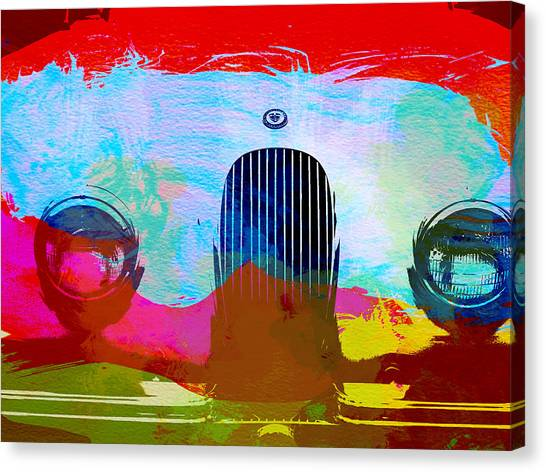 Classic Cars Canvas Print - Jaguar Xk Front by Naxart Studio