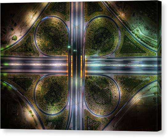 Aerial Canvas Print - Jahra Road by Faisal Alnomas