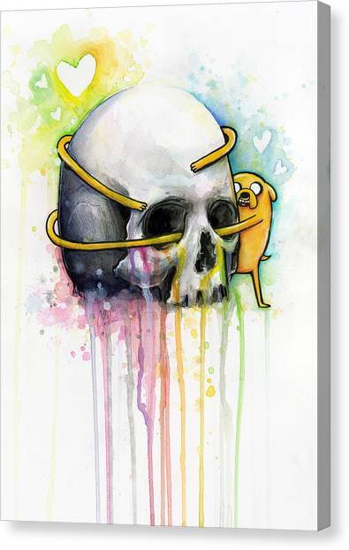 Skulls Canvas Print - Jake The Dog Hugging Skull Adventure Time Art by Olga Shvartsur