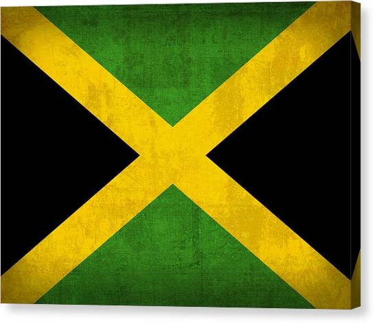 Jamaican Canvas Print - Jamaica Flag Vintage Distressed Finish by Design Turnpike