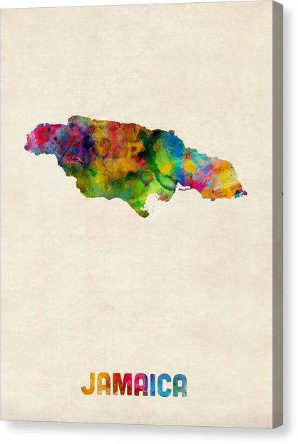 Jamaican Canvas Print - Jamaica Watercolor Map by Michael Tompsett