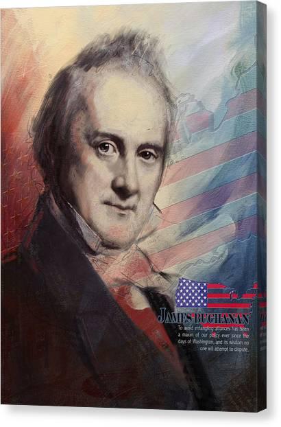 Thomas Jefferson Canvas Print - James Buchanan by Corporate Art Task Force