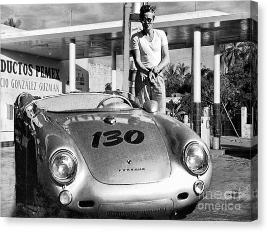 James Dean Filling His Spyder With Gas Black And White Canvas Print