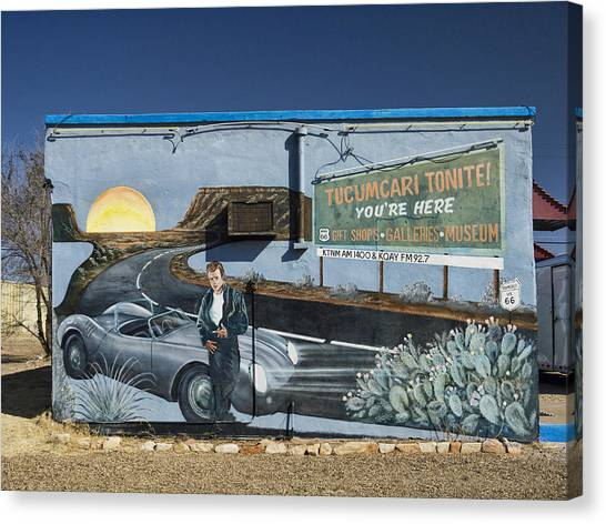 James Dean Canvas Print - James Dean Mural In Tucumcari On Route 66 by Carol Leigh