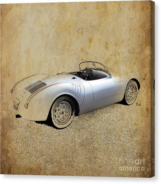 James Dean Canvas Print - James Dean Porsche 550 Spyder by Drawspots Illustrations