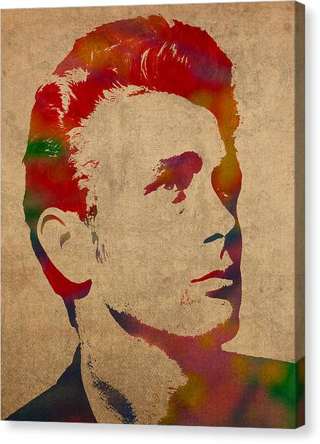 James Dean Canvas Print - James Dean Watercolor Portrait On Worn Distressed Canvas by Design Turnpike