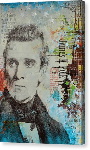 Washington Monument Canvas Print - James K. Polk by Corporate Art Task Force