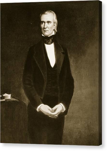 Presidential Portrait Canvas Print - James K Polk  by George Healy