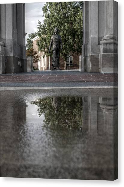 University Of Mississippi Ole Miss Canvas Print - James Meredith Statue Reflection by Joshua House