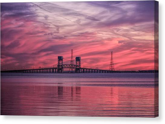 James River Bridge At Sunset Canvas Print