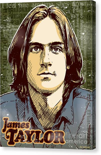Raining Canvas Print - James Taylor Pop Art by Jim Zahniser