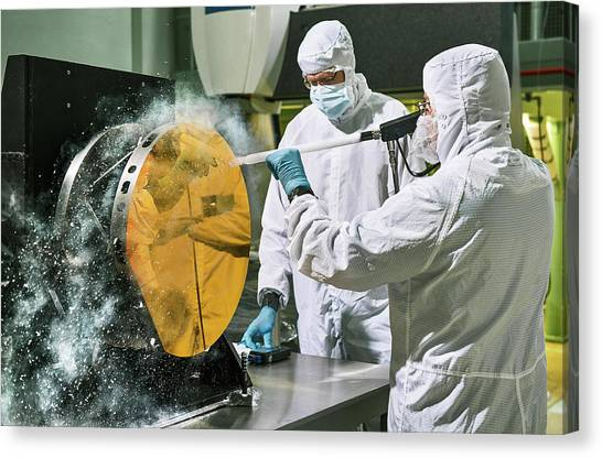 Protective Clothing Canvas Print - James Webb Space Telescope Cleaning by Nasa, Chris Gunn