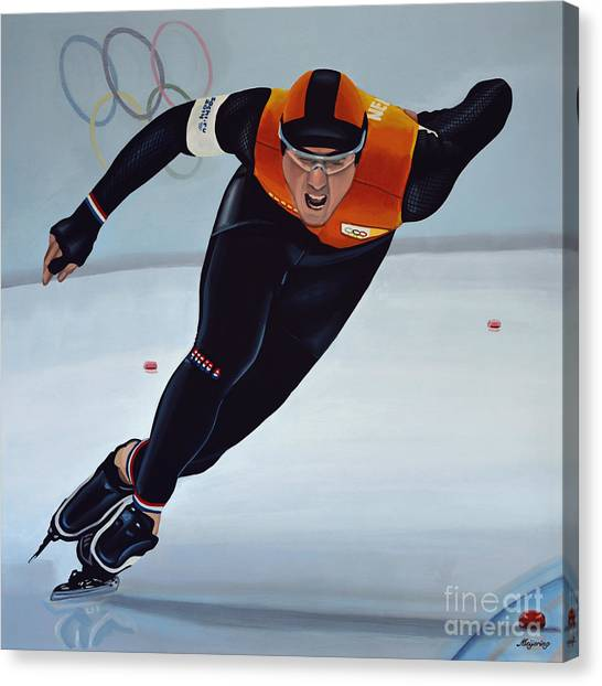 Speed Skating Canvas Print - Jan Smeekens by Paul Meijering