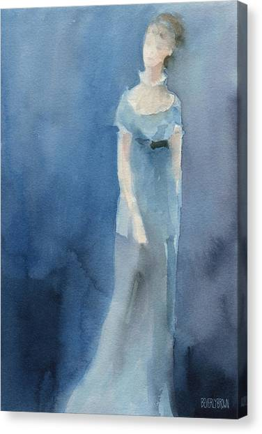 Navy Blue Canvas Print - Jane Austen Watercolor Painting Art Print by Beverly Brown Prints