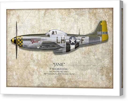 P51 Canvas Print - Janie P-51d Mustang - Map Background by Craig Tinder