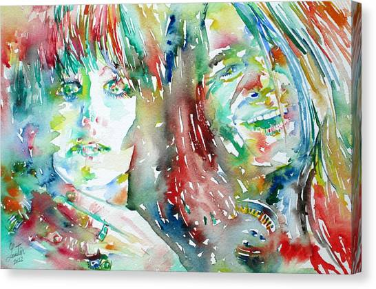 Big Brother Canvas Print - Janis Joplin And Grace Slick Watercolor Portrait.1 by Fabrizio Cassetta
