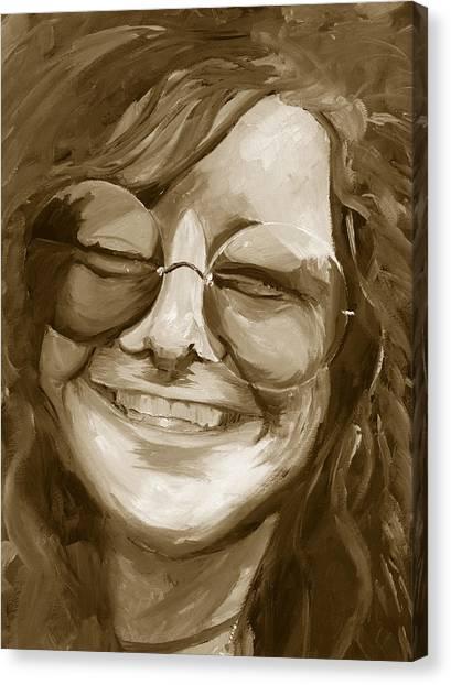 Janis Joplin Gold Canvas Print
