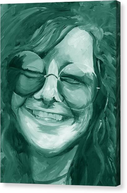 Janis Joplin Green Canvas Print