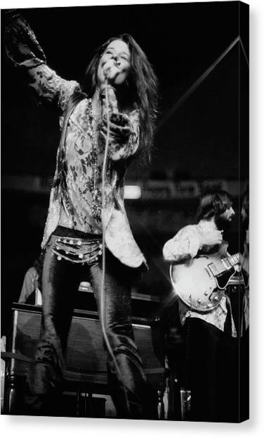 Microphones Canvas Print - Janis Joplin On Stage by Charles Tracy