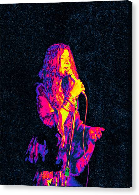 Janis Joplin Canvas Print - Janis Joplin Psychedelic Fresno  by Joann Vitali