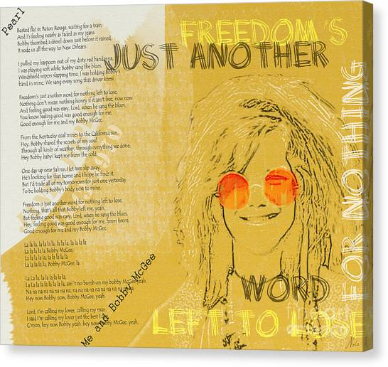 Janis Joplin Canvas Print - Janis Joplin Song Lyrics Bobby Mcgee by Nola Lee Kelsey