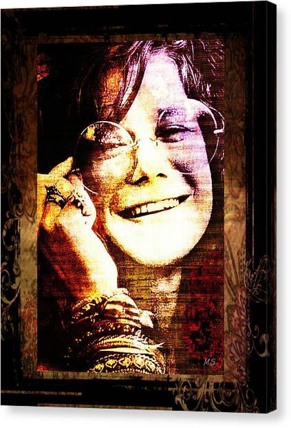 Janis Joplin Canvas Print - Janis Joplin - Upclose by Absinthe Art By Michelle LeAnn Scott