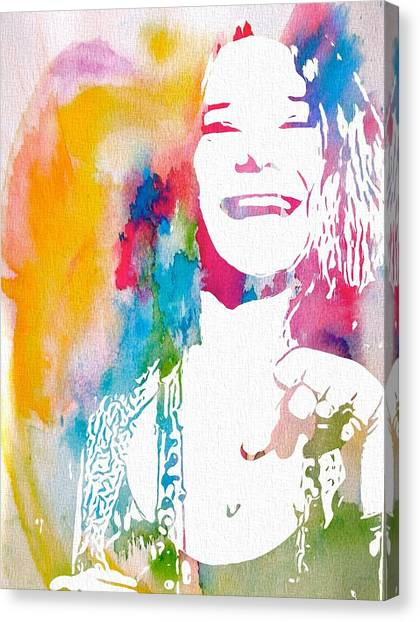 Rocker Canvas Print - Janis Joplin Watercolor by Dan Sproul