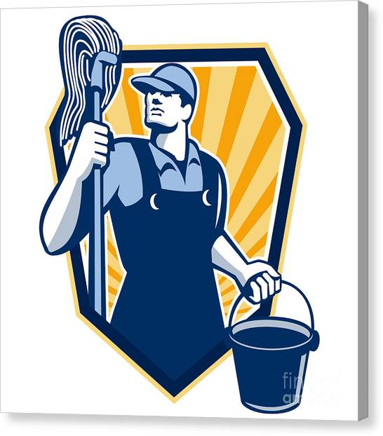 Janitor Cleaner Hold Mop Bucket Shield Retro Canvas Print by Aloysius Patrimonio