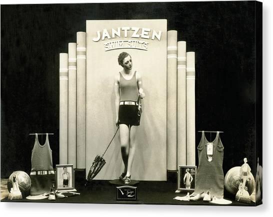 Clothing Store Canvas Print - Jantzen Swim Suit Display by Underwood Archives