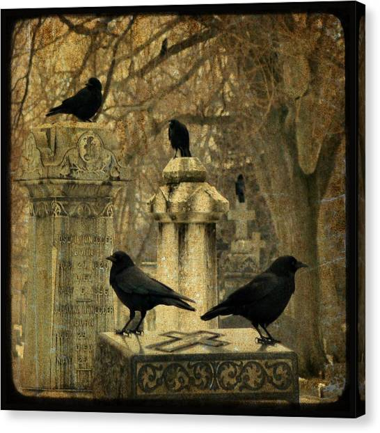 Ravens In Graveyard Canvas Print - January Darkness by Gothicrow Images